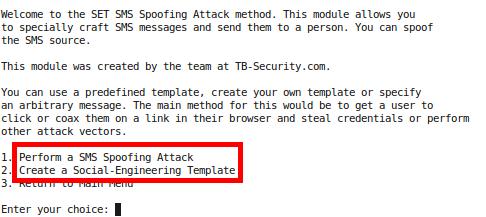 Uso de SMS Spoofing desde SET | Testpurposes