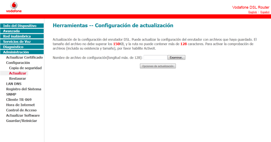 Subida de fichero de configuración modificado